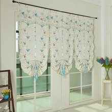 Lively Blue Butterfly Linen/Cotton Blend Fabric Decorative Sheer Curtain