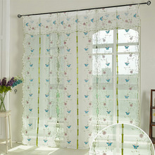 Embroidered Blue Butterfly Sheer Curtain Linen/Cotton Blend Fabric