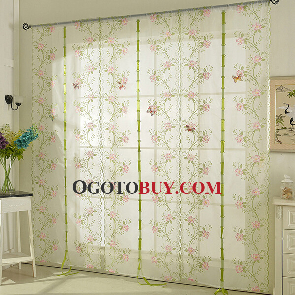Beautiful Floral Curtain In pink Color Faux Silk Fabric Sheer ...