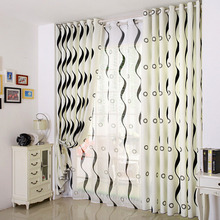 Simple White Modern Curtain Printed with Black Lines and Geometric Patterns