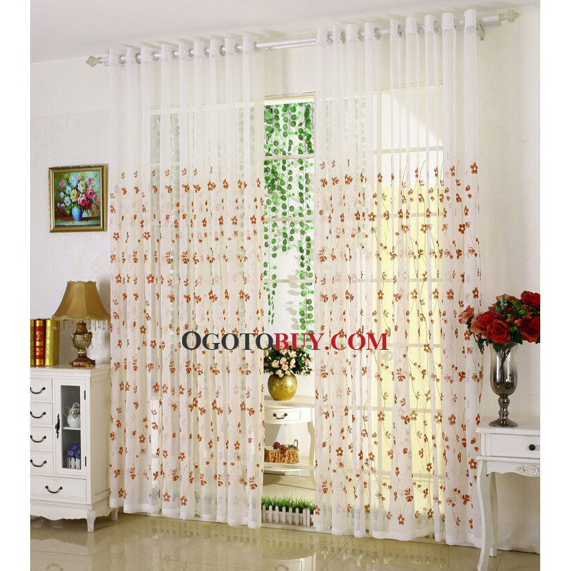 Loading zoom. Decorative Sliding Door Sheer ... & Decorative Sliding Door Sheer Curtain In White Color Embroidered ...