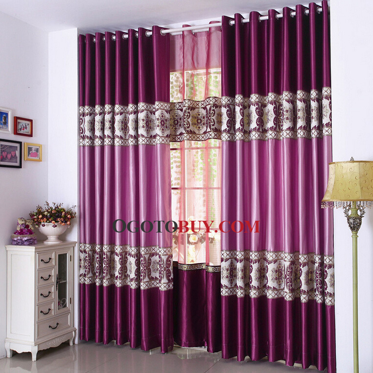 Embroidered Floral Pattern Violet Purple Living Room Curtain Loading Zoom