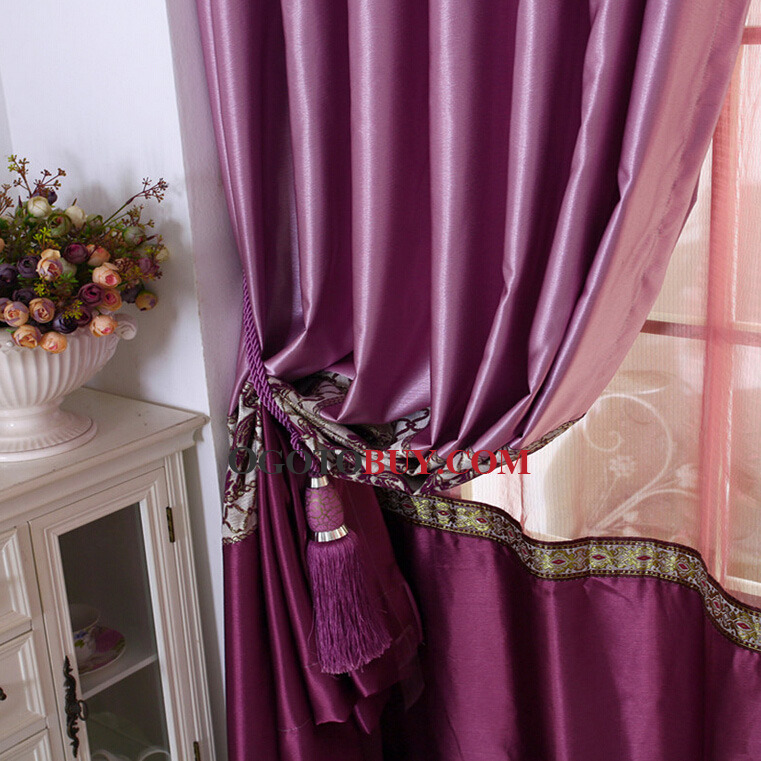 Featured Faux Silk Embroidered Floral Pattern Violet Purple Living Room Curtain