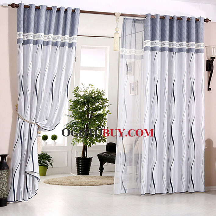 Simplicity Streamlined White and Gray-blue Poly/Cotton Blend Modern Curtain