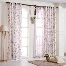 Natural Linen/Cotton Blend Fabric Modern Country Curtain Printed With Leaf Pattern