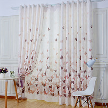 Eco-friendly Linen and Cotton Blended Fabric Decorative Butterfly Kids Curtains