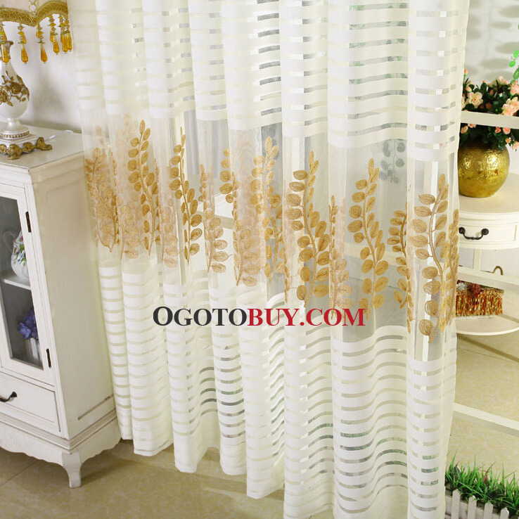 ... Exquisite Embroidered Gold Leaf Pattern White Stripe Sheer Curtain ...