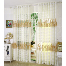 Exquisite Embroidered Gold Leaf Pattern White Stripe Sheer Curtain