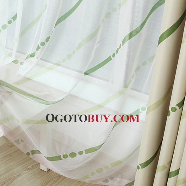 Fresh Green Stripe Pattern Polyester Simple Modern Curtain