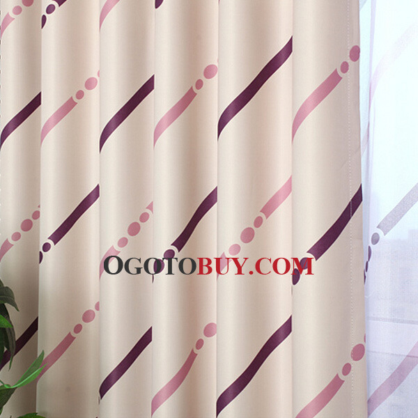 Physical Shading Fresh Pink Stripe Pattern Polyester Modern Curtain