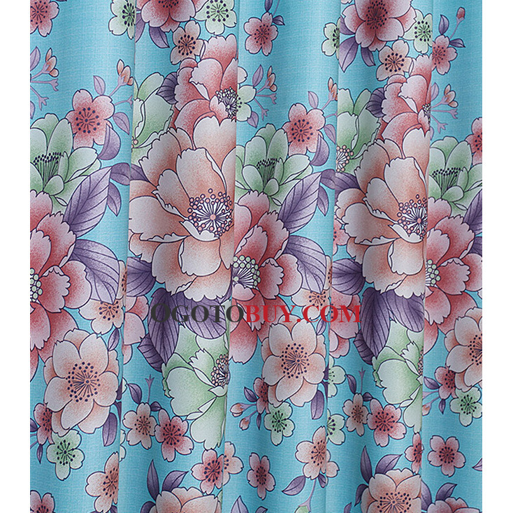 Beautiful Floral Curtain In Blue Color Polyester Fabric, Buy Blue ...