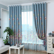 Decorative and Functional Thick Polyester Gray-blue Floral Curtain