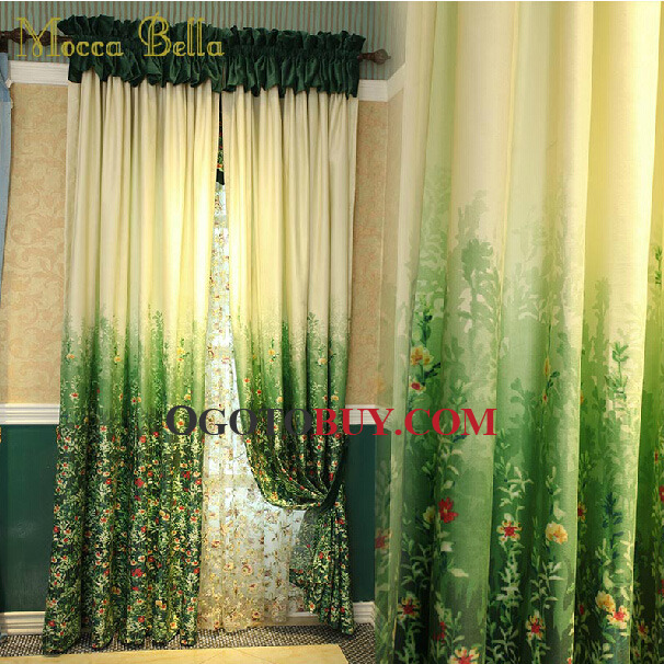 Fresh Green Poly/Cotton Blend Fabric Decorative Country Curtain ...