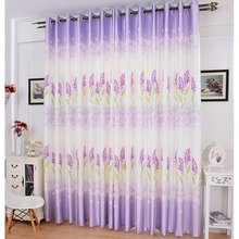 Durable Polyester Floral Curtain In Lilac Color Room Darkening Curtain