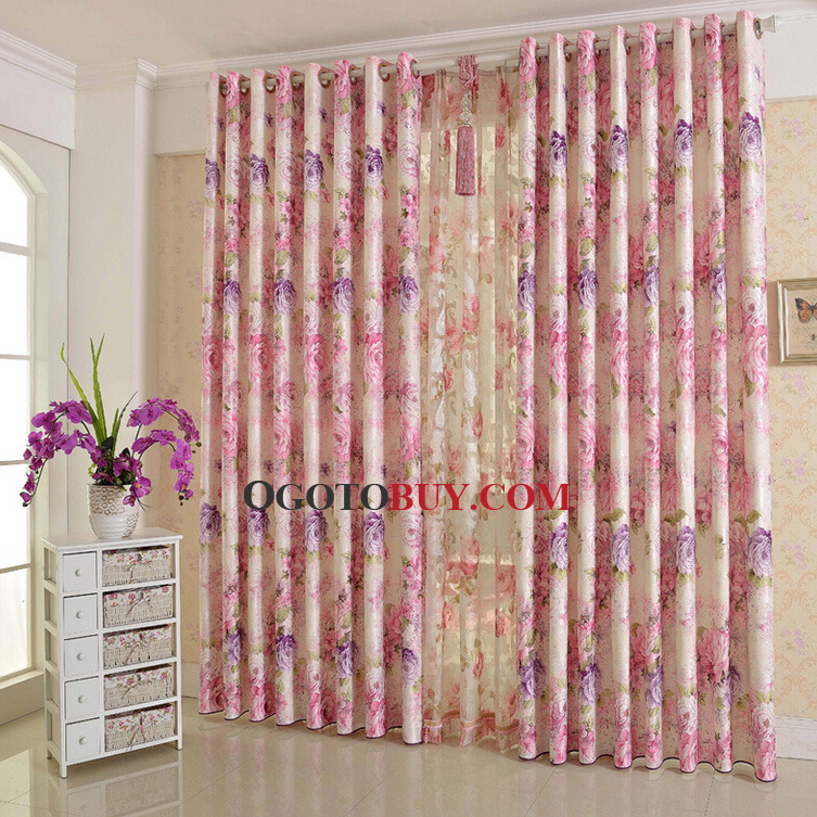 Beautiful Purple and Pink Floral Curtain Poly/Cotton Blend Fabric ...