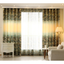 Printed Green and Light Yellow Poly/Cotton Blend Privacy Country Curtain