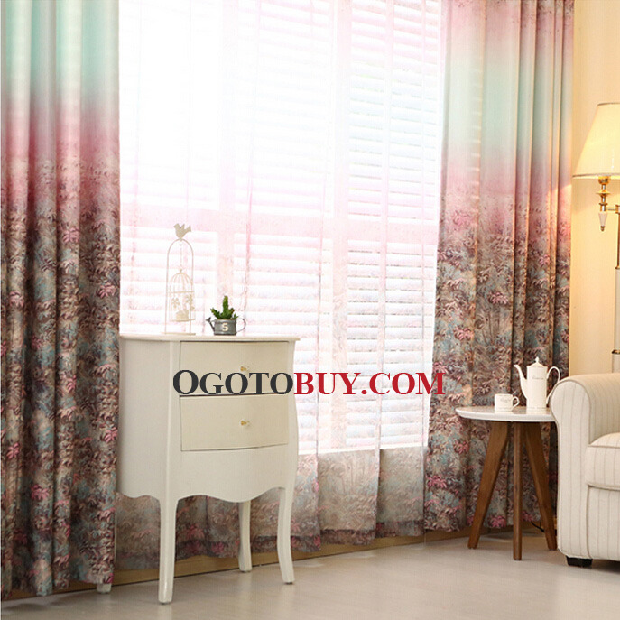 Colorful Primitive Poly/Cotton Fabric Country Curtains For Living ...