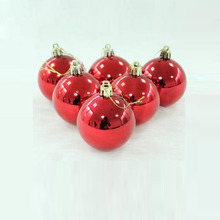 "1.6"" Diameter Red Christmas Ball PVC 6 Pcs/Set"