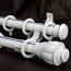 19 inch White Aluminum Alloy Woodgrain Double Curtain Rods