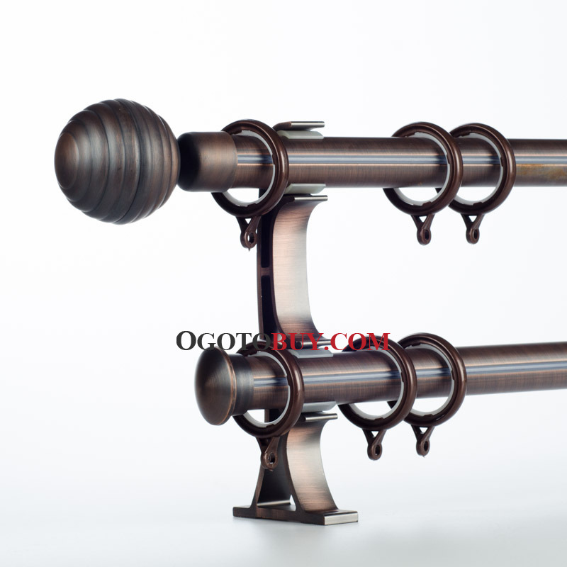 Coffee 19 inch Aluminum Alloy Round Finial Double Curtain Rods