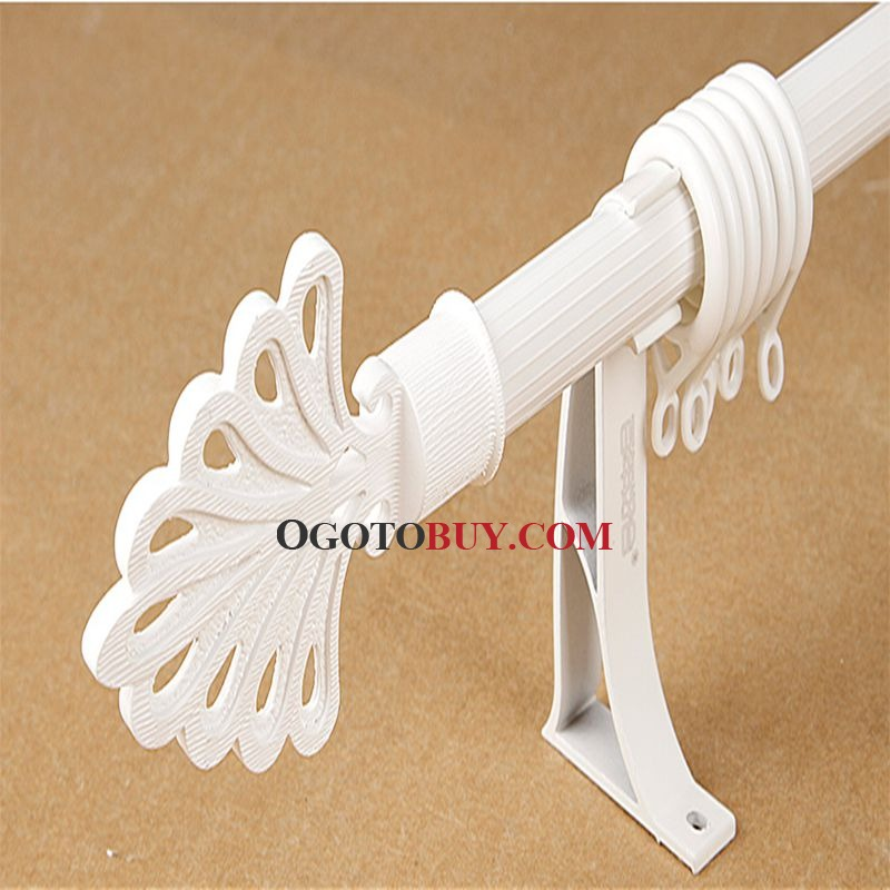 White Peacock Tail Finial Aluminum Single Curtain Rods 19 inch