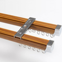 19 inch Aluminum Brown Wood Color Double Curtain Track