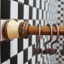 47-78inch Antique Brass Steel Shower Curtain Rod