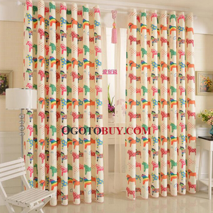 Kids Bedroom Curtains colorful cute horse curtains polyester kids bedroom curtains, buy