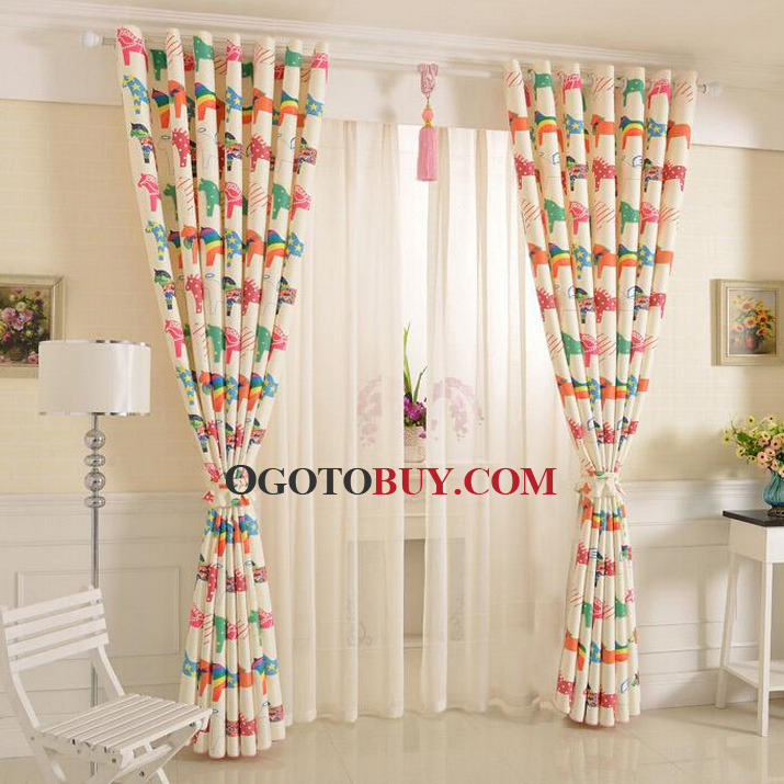 Colorful Cute Horse Curtains Polyester Kids Bedroom Curtains, Buy ...