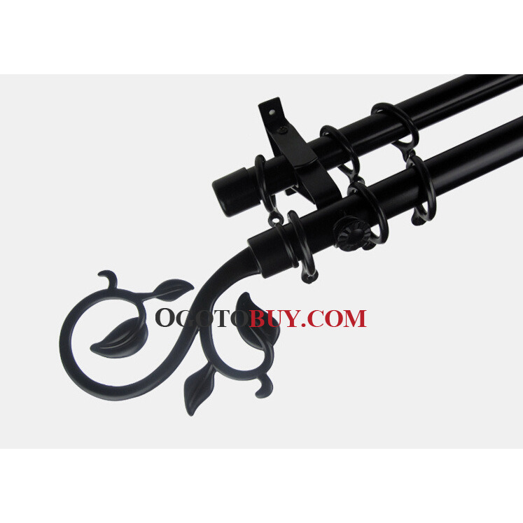 19 inch Black Floral Finial Aluminum Alloy Double Curtain Rods