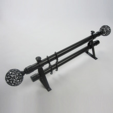 19 inch Black Ball Finial Aluminum Alloy Material Double Curtain Rods