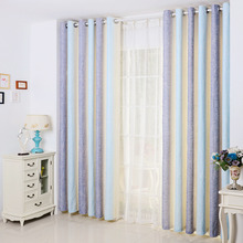 Simple Casual Lilac and Blue Linen/Cotton Blend Fabric Striped Modern Curtains
