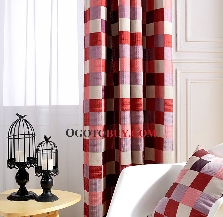 Classic Country Style Part - 44: ... Poly/Cotton Blend Classic Country Style Red And White Plaid Curtains ...