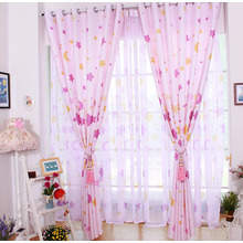 Lovely and Sweet Pink Kids Curtains Printed With Stars and Moon Patterns