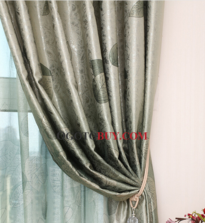 dark green leaf pattern polyester insulated thermal blackout curtains