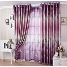 Country Style Botanical Pattern Thick Polyester Insulated Purple Curtains