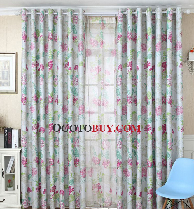 Black Curtains black curtains cheap : Light Shading Poly/Cotton Blend Fabric Blackout Beautiful Floral ...