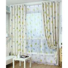 Casual Simple leaf and Cartoon Patterns Linen and Cotton Modern Window Curtains