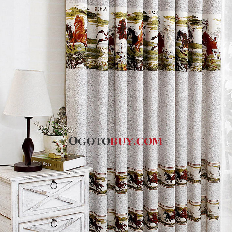 Decorative Chinese Style Horse Pattern Gray Living Room Window Curtains