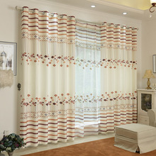Privacy Polyester Beige and Coffee Stripe Pattern Modern Curtains