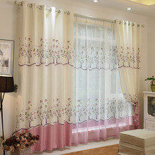 Decorative Country Curtains In Pink and Beige Color Polyester Printed Tree Pattern