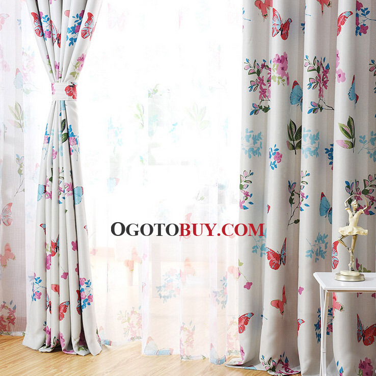 ... Decorative Country Style Floral Curtains Panels Butterfly Leaf Patterns  ...