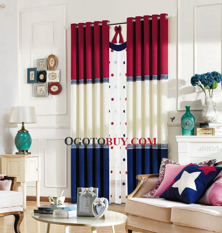Red and Navy Blue Privacy Mediterranean Curtains  Loading zoom. Thick Chenille Fabric Red and Navy Blue Privacy Mediterranean