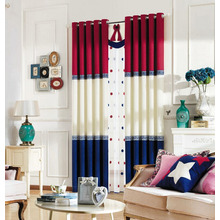 Thick Chenille Fabric Red and Navy Blue Privacy Mediterranean Curtains