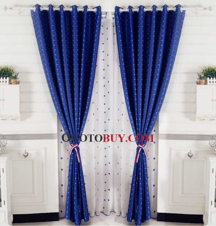 ... Red And White Star Royal Blue Polyester Kids Room Thermal Blackout  Curtains. Loading Zoom