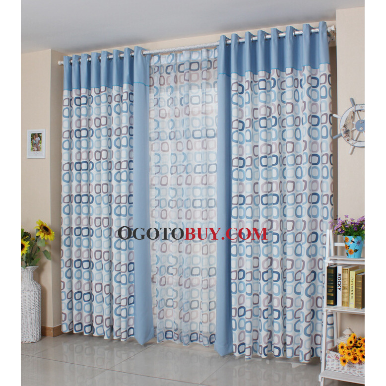 Geometric Pattern Poly Cotton Living Room Curtains Loading Zoom