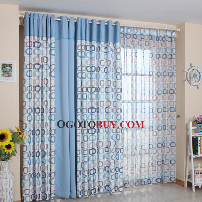 Classic Blue And Coffee Color Geometric Pattern Poly Cotton Living Room Curtains