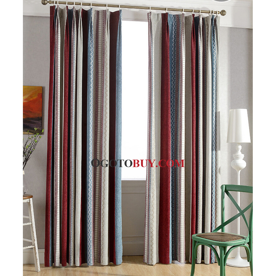 Colorful Striped Curtains Chenille Fabric Simple Energy Saving ...