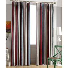 Colorful Striped Curtains Chenille Fabric Simple Energy Saving Curtains