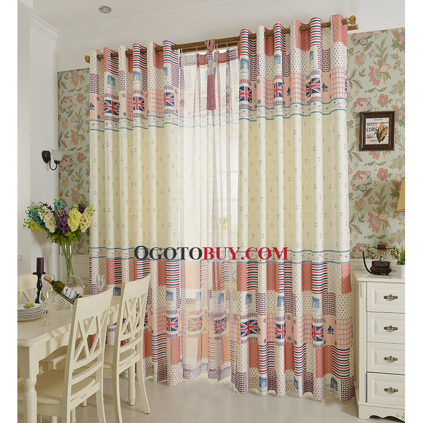 Classic British Style Kids Room Curtains Multi Color Polyester ...